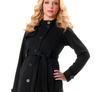The maternity peacoat is flattering and sophisticated
