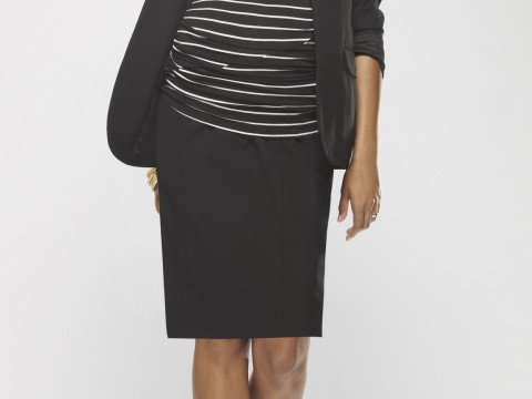 Drape-neck elbow-sleeve T-shirt ($68.50) with pencil skirt ($59.50) and blazer ($195) at A Pea in the Pod